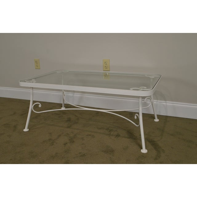 Woodard for Crown Leisure White Wrought Iron Glass Top Patio Coffee Table For Sale - Image 11 of 13