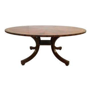 Lilian August for Hickory White Transitional Mahogany Finished Wood Pedestal Dining Table For Sale
