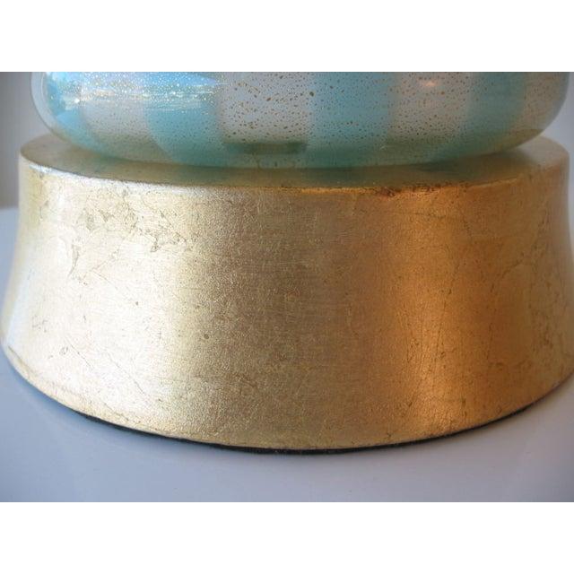 Italian Murano Blue, White and Gold Mid-Century Modern Murano Glass Table Lamp MCM Barbini Venetian Italy - Image 10 of 10