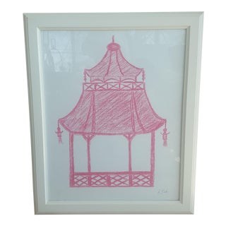 Original Pink Chinoiserie Pagoda Oil Pastel Drawing Signed