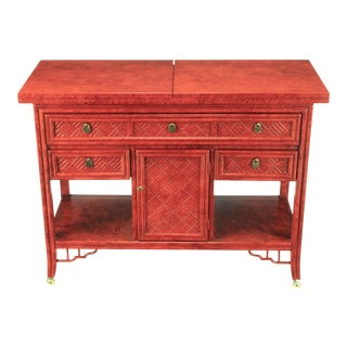 Glazed Cinnabar Flip-Top Chinoiserie Bar Cart/Server For Sale