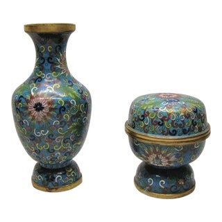 Mid 19th Century Chinese Cloisonne 'Lotus' Vase and Covered Stem Cup - 2 Pieces For Sale