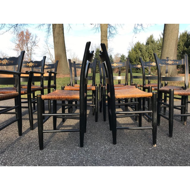 Wood Vintage Black and Caned Hitchcock Chairs - Set of 12 For Sale - Image 7 of 11
