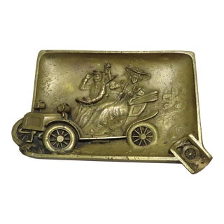 Antique Bronze Early Touring Car Motif Cigar Ashtray For Sale