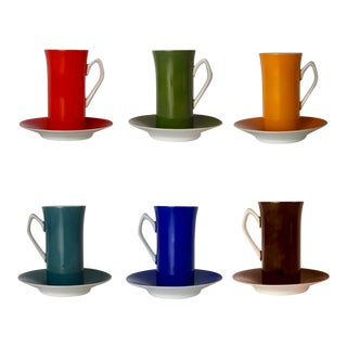 Vintage 1980s LaGardo Tackett Style Espresso / Demitasse Cups With Saucers - 6 Pairs For Sale
