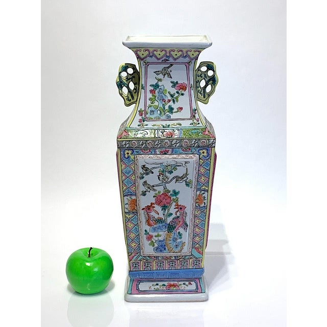 Mid 20th Century Large Chinese Famille Rose Square-Form Vase With Birds and Ducks For Sale - Image 9 of 10