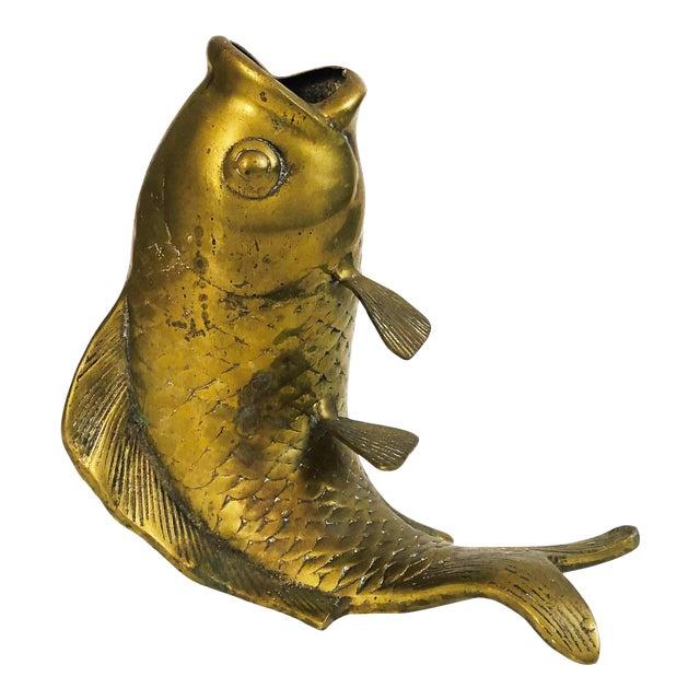Large Vintage Brass Fish Vase | Chairish