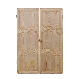 Pair of French 19th Century Bleached Wood Doors With Nice Scalloped Carvings For Sale
