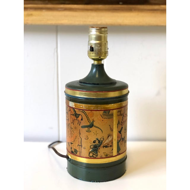 1920s Art Deco Child's Lamp of Tole With a Toy Themed Paper Applique For Sale - Image 5 of 12