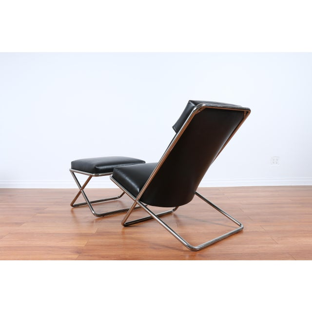 Ward Bennet Style Chrome and Leather Lounge Chair For Sale In Los Angeles - Image 6 of 8