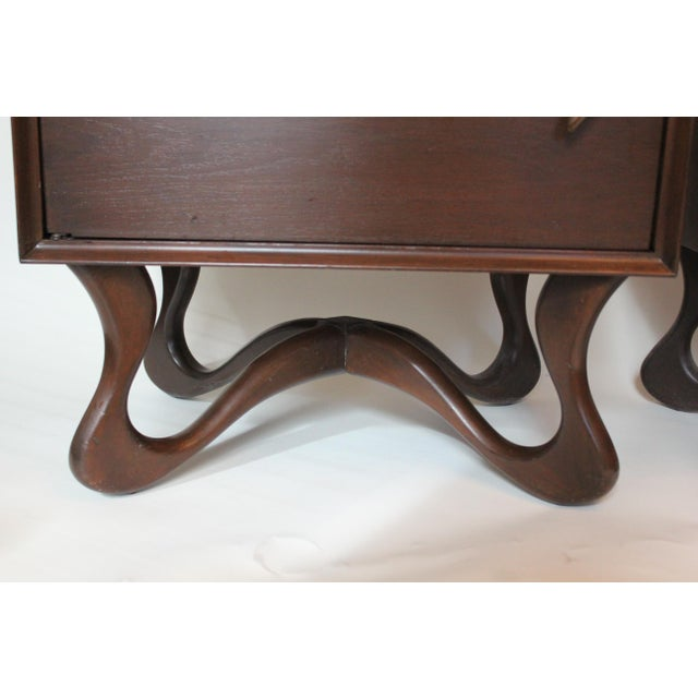 1950s Mid-Century Modern Mahogany Nightstands - a Pair For Sale - Image 4 of 6