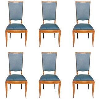 French Art Deco Solid Walnut Jules Leleu Dining Chairs - Set of 6 For Sale