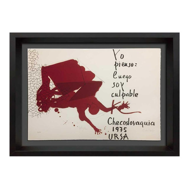 """Paul Rebeyrolle Original Hand Sign Lithograph Ltd Ed. """"I Think."""" W/Frame For Sale"""