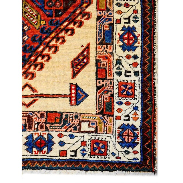 A rare and unusual late 19th century Persian Serab runner with three large-scale and boldly rendered diamond form...