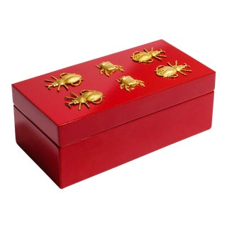 Medium Red Lacquer Box With Brass Bugs