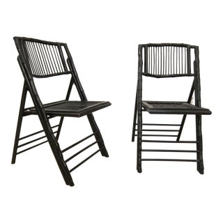 Vintage Bamboo Folding Chairs, Painted in Black - a Pair For Sale
