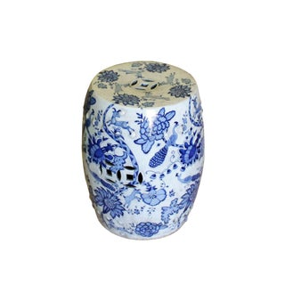Chinese Blue & White Porcelain Round Flower Bird Stool For Sale