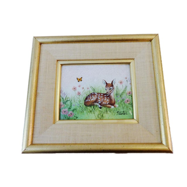 Metal Framed Painting on Metal of a Deer For Sale - Image 7 of 7