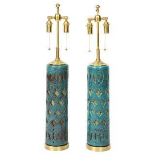 Pair of Teal Glazed Italian Ceramic Lamps For Sale