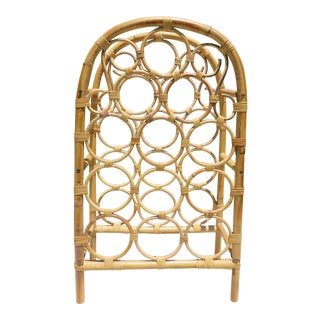 Vintage Palm Beach Style Bamboo and Rattan 12 Bottle Wine Rack For Sale