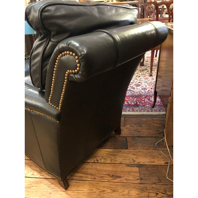 Dark Charcoal Leather Club Chair & Ottoman For Sale In Philadelphia - Image 6 of 9