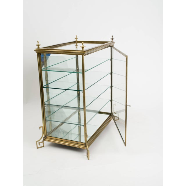 Metal Italian Brass and Glass Display Cabinet For Sale - Image 7 of 11