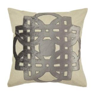 Contemporary Tr Essentials Grey Geo Applique Pillow - 22x22 For Sale