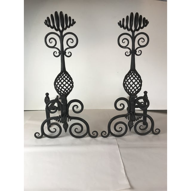 Mid Century Art and Crafts Wrought Iron Hand Frogged Iron Andirons for Fire Place - a Pair For Sale - Image 13 of 13