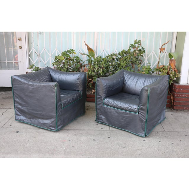1980s 1980s Vintage Italian Leather Lounge Chairs- A Pair For Sale - Image 5 of 13