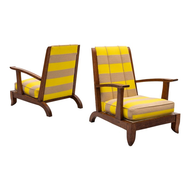 French Lounge Chairs in Oak and Raf Simmons Fabric, 1940s For Sale
