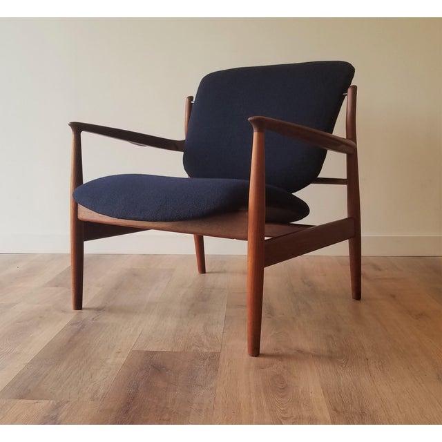 1950s Newly Upholstered Finn Juhl for France & Daverkosen in Kvadrat Wool Teak Lounge Chair (Fd-136) For Sale - Image 13 of 13