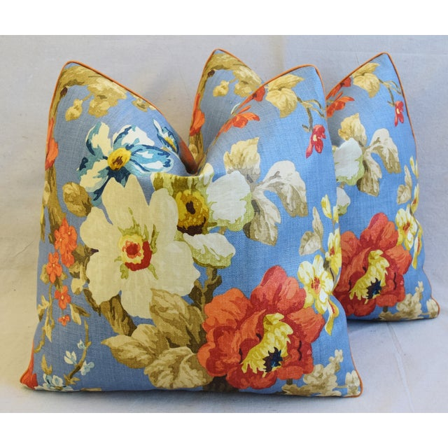 "Feather Lee Jofa Jardin Floral Linen Feather/Down Pillows 21"" Square - Pair For Sale - Image 7 of 13"