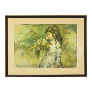"""1970s Vintage """"May"""" Little Girl Smelling Wildflowers Signed Impressionist Inspired Oil Painting For Sale"""