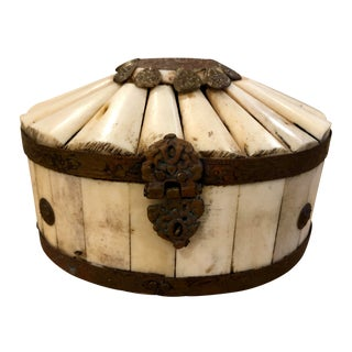 1950s Moorish Style Lidded Brass and Bone Box With Floral Details For Sale