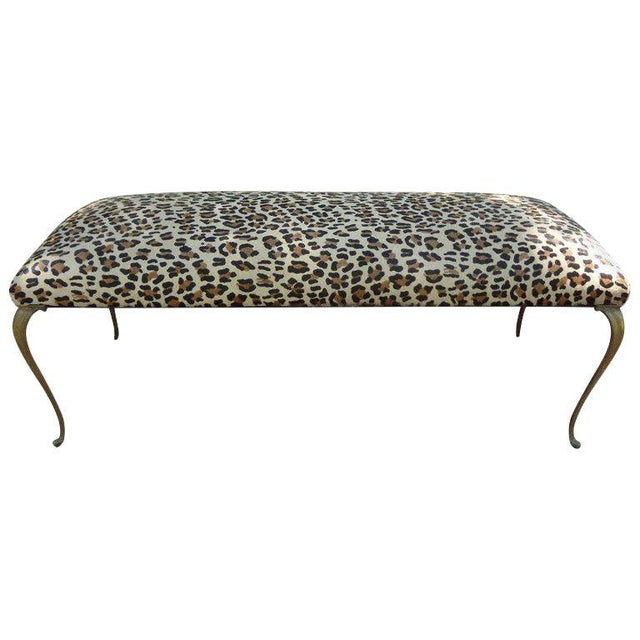 Gold 1960's Vintage Italian Gio Ponti Inspired Upholstered Leopard Print Hide Hair Bench For Sale - Image 8 of 8
