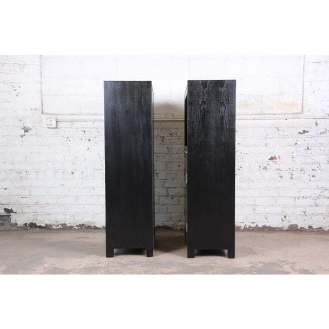 Michael Taylor for Baker Far East Collection Ebonized Chinoiserie Wall Units, Pair For Sale - Image 11 of 13