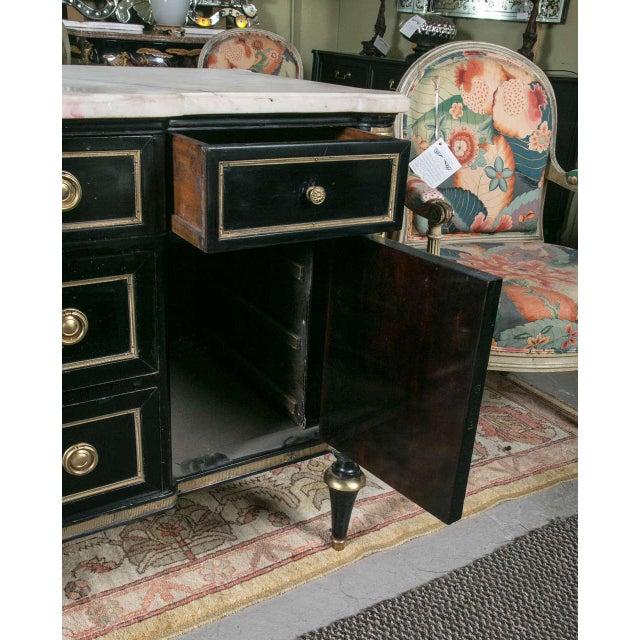 Bronze Maison Jansen Ebonized Marble Top Commode For Sale - Image 7 of 11