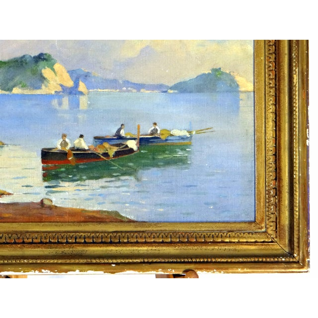 Blue Italian Coastal Painting With Mount Vesuvius by Henry Ravell (1864 – 1930 California) For Sale - Image 8 of 12