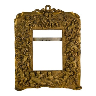 Italian Bronze Ormolu Cherub Motif Picture Frame For Sale