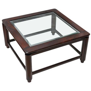 British Colonial Rosewood Coffee Table With Beveled Glass, C. 1950's For Sale