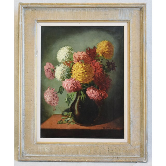 M E Wright Chrysanthemum in Vase Framed Floral Oil Painting For Sale - Image 9 of 10