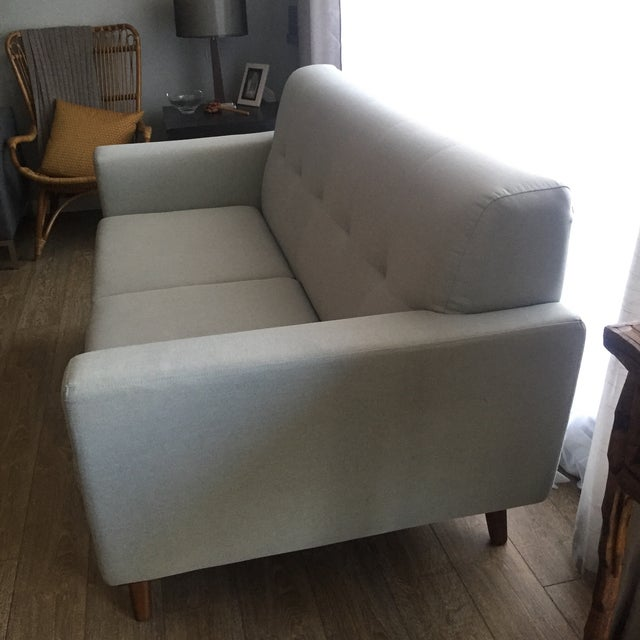 Mid-Century Blue Gray Loveseat - Image 5 of 8