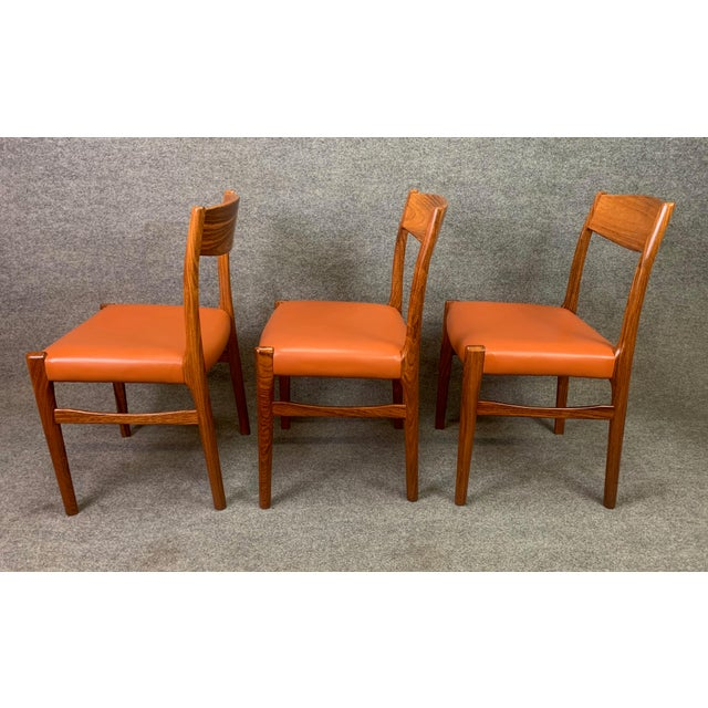 Set of Six Vintage Danish Mid Century Modern Rosewood and Leather Dining Chairs For Sale - Image 10 of 13