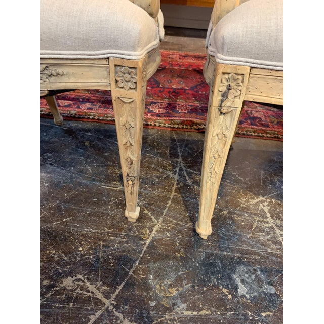 Taupe Set of 4 18th Century French Armchairs Made of Bleached Walnut For Sale - Image 8 of 10