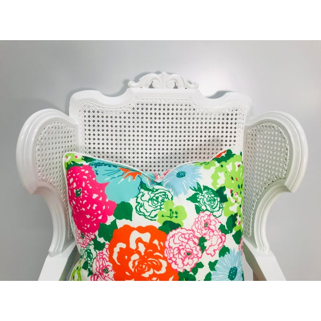 Vintage Caned Wing Chair With Lilly Pulitzer Outdoor Fabric For Sale In West Palm - Image 6 of 8