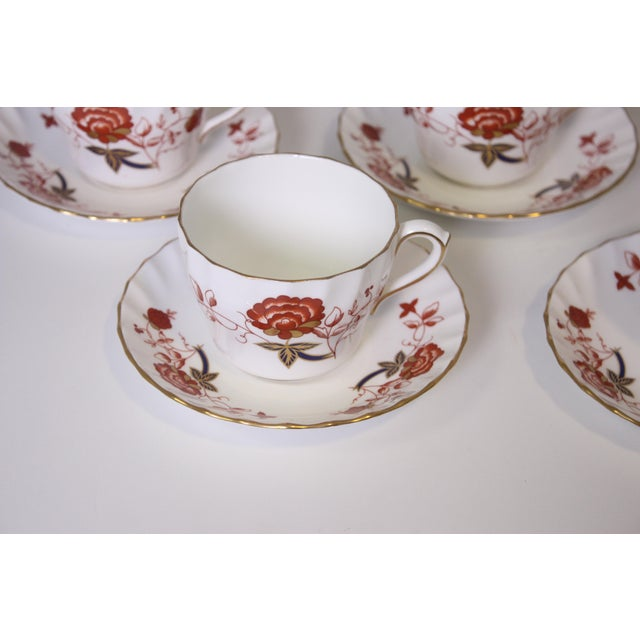 White Vintage Royal Crown Derby Bali Pattern Cups and Saucers - Set of 12 For Sale - Image 8 of 10