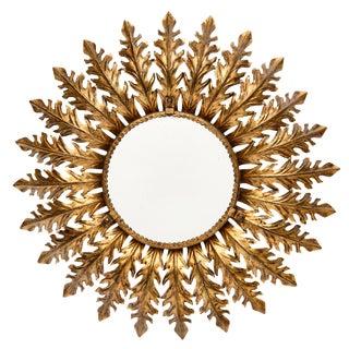 Spanish Vintage Sunburst Mirror With Backlight For Sale