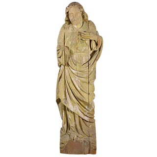 Large Statue Hand-Carved in Wood For Sale