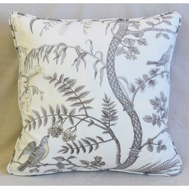 """Early 21st Century Brunschwig & Fils Bird and Thistle Feather/Down Pillows 21"""" Square - Pair For Sale - Image 5 of 13"""