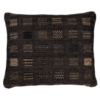Indian Handwoven Weave Black Window Pillow For Sale